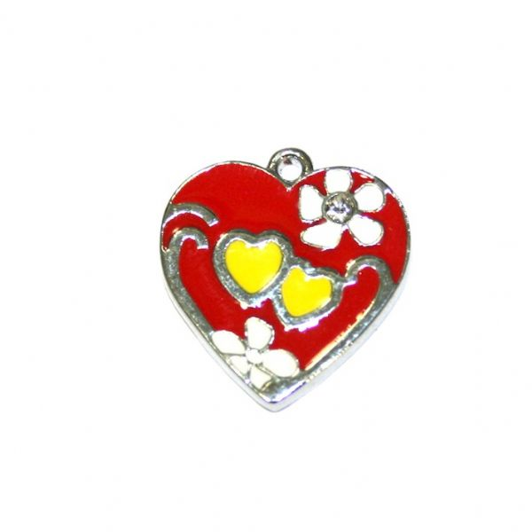 1 x 18*17mm rhodium plated pink colour heart with floral pattern enamel charm - SD03 - CHE1243
